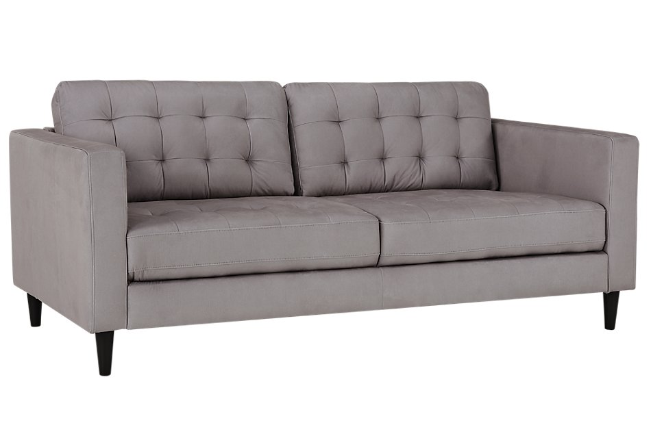Shae Light Gray Microfiber Sofa | Living Room - Sofas | City ...