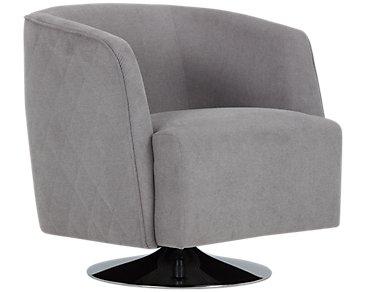 Alec Dark Gray Fabric Swivel Accent Chair