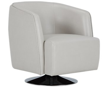 Alec Light Gray Microfiber Swivel Accent Chair