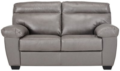 devon gray leather loveseat