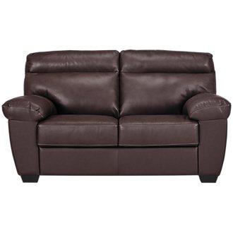 Devon Dark Brown Leather Loveseat
