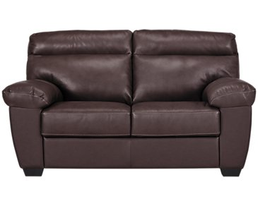 Devon Dark Brown Leather Loveseat