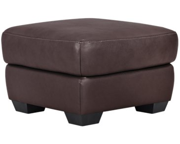 Devon Dark Brown Leather Ottoman