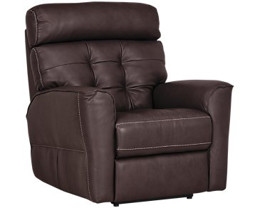 Devon Dark Brown Leather Power Recliner