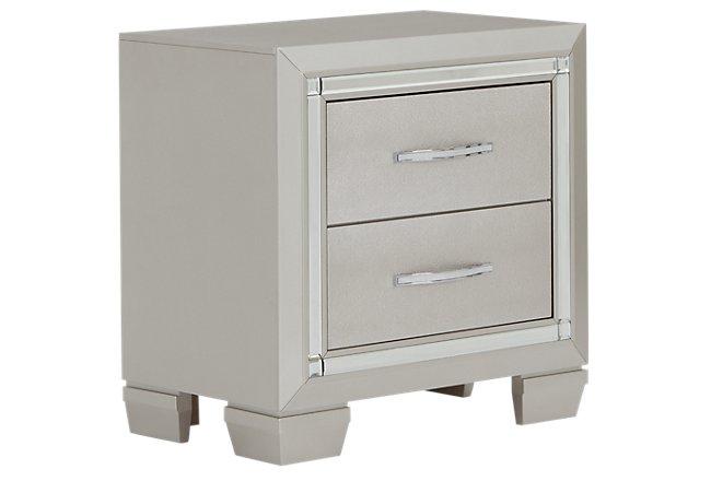 Platinum Silver Wood Nightstand