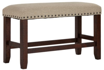 "Jax Beige Upholstered 24"" High Dining Bench"