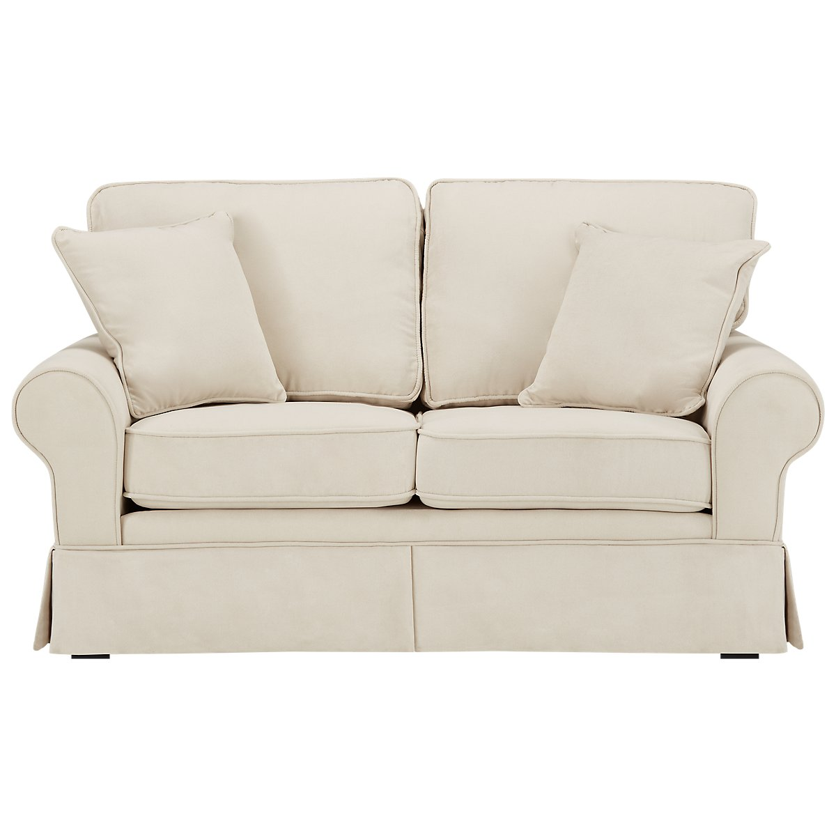 Reese White Fabric Loveseat