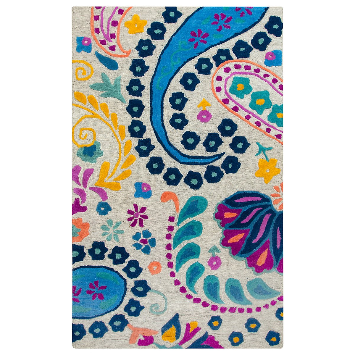 Paisley Multicolored Wool 3x5 Area Rug