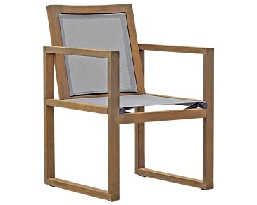 Linear Teak Sling Arm Chair