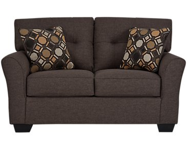 Laryn Dark Gray Microfiber Loveseat