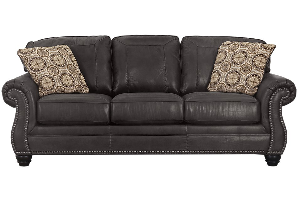 Breville Dark Gray Microfiber Sofa | Living Room - Sofas ...
