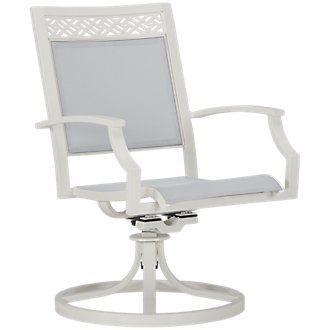 Charleston White Swivel Sling Chair