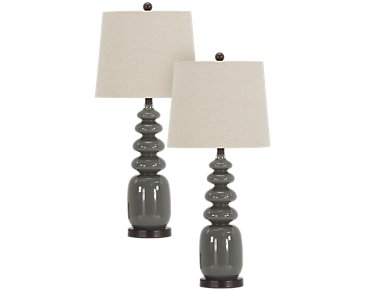 Adam Gray Set Of 2 Table Lamp