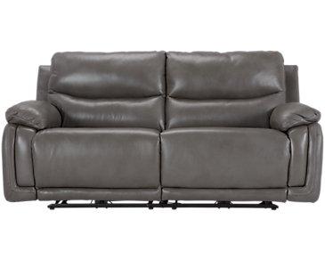 Vince Gray Leather & Vinyl Power Reclining Sofa