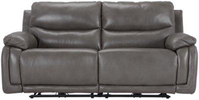 Vince Gray Leather U0026 Vinyl Power Reclining Sofa