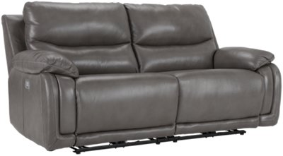 Vince Gray Leather U0026 Vinyl Power Reclining Sofa. VIEW LARGER