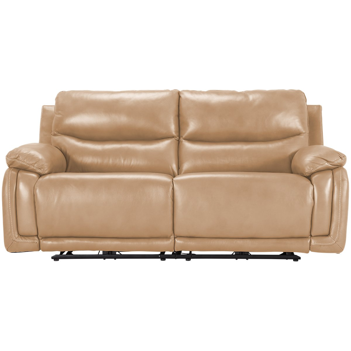 Vince Taupe Leather Amp Vinyl Power Reclining Sofa