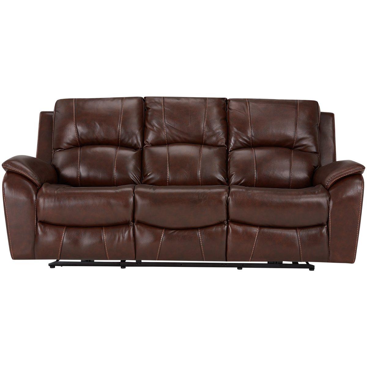 city furniture memphis medium brown leather power reclining sofa. Black Bedroom Furniture Sets. Home Design Ideas