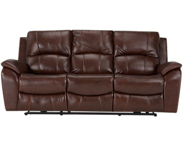 Memphis Medium Brown Leather & Vinyl Power Reclining Sofa