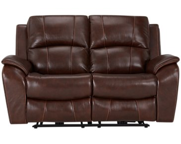 Memphis Medium Brown Leather & Vinyl Power Reclining Loveseat
