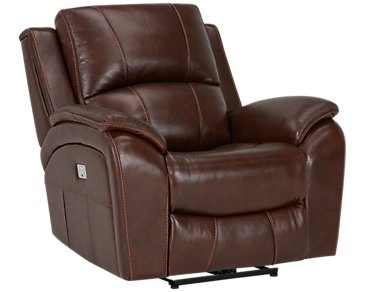 Memphis Medium Brown Leather & Vinyl Power Recliner