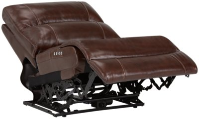 Memphis Medium Brown Leather U0026 Vinyl Left Chaise Power Reclining Sectional
