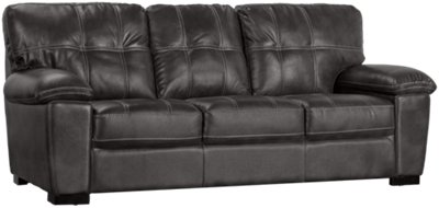 Henry Gray Microfiber Sofa. VIEW LARGER