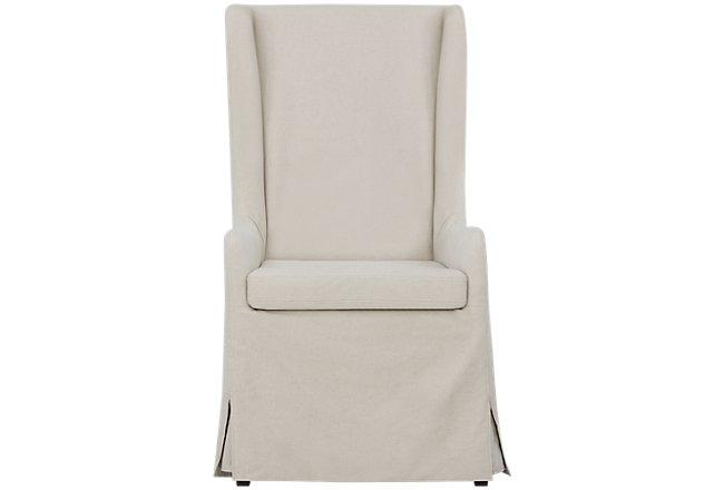 Savannah Beige Upholstered Skirted Arm Chair