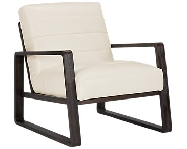 Lazio White Microfiber Accent Chair