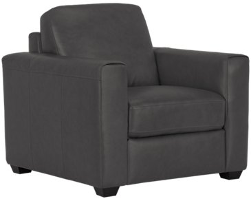 Lane Dark Gray Leather & Vinyl Chair