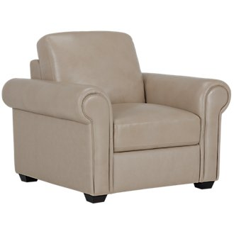 Lincoln Taupe Leather & Vinyl Chair