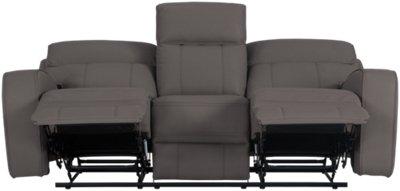 Rhett Gray Microfiber Power Reclining Sofa. VIEW LARGER
