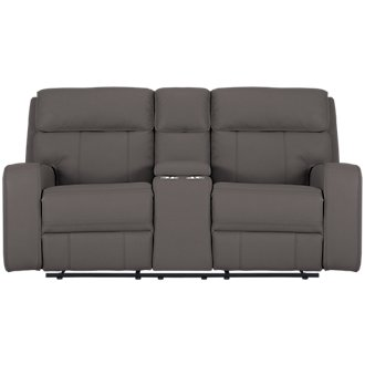 Rhett Gray Microfiber Power Reclining Console Loveseat
