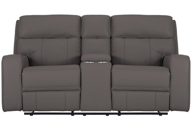 Rhett Gray Micro Power Reclining Console Loveseat
