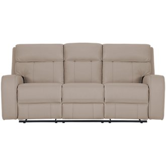 Rhett Taupe Microfiber Power Reclining Sofa