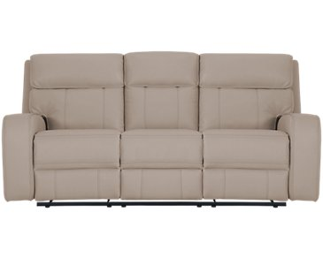 Rhett Taupe Microfiber Power Reclining Sofa