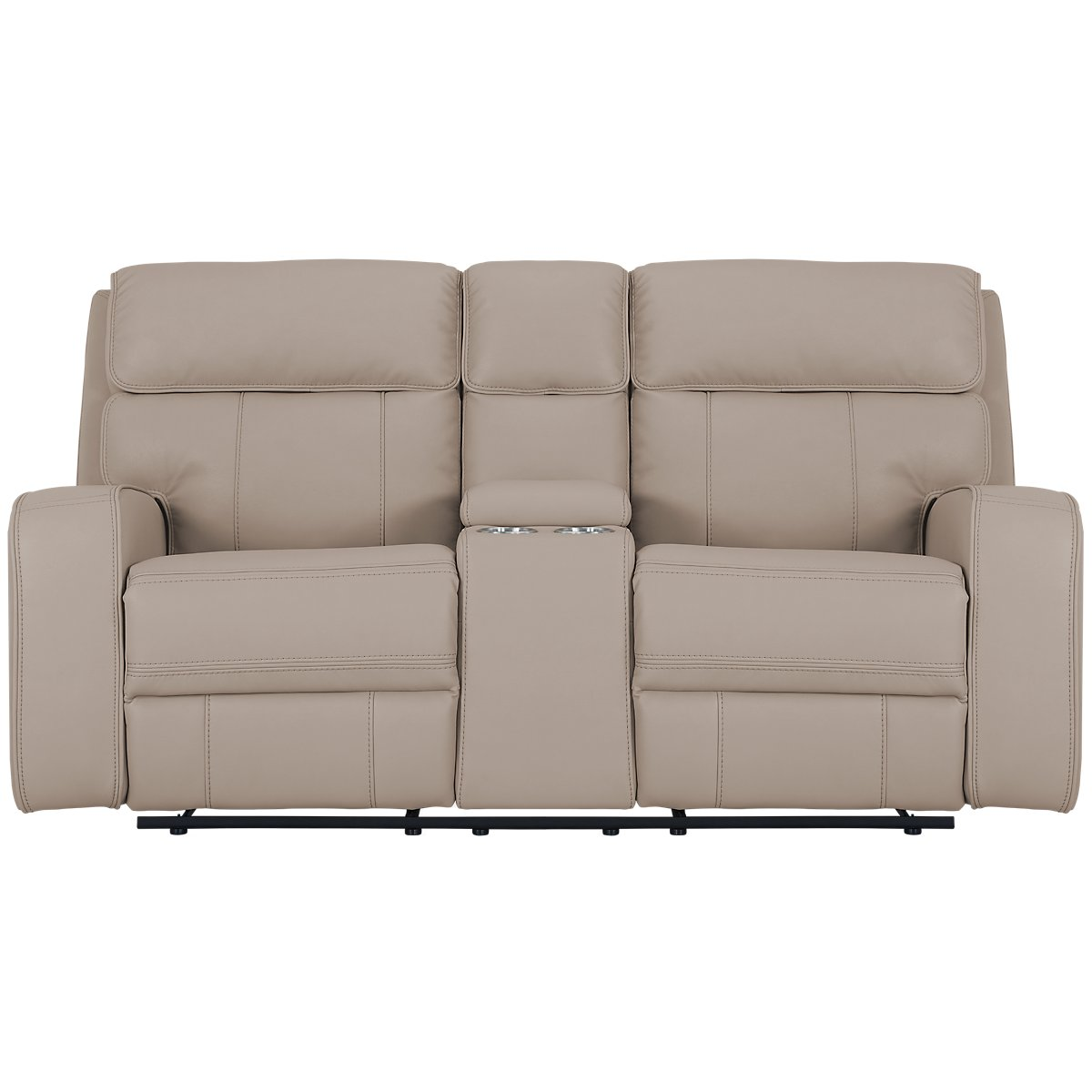 City Furniture Rhett Taupe Microfiber Reclining Console Loveseat