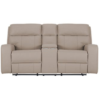 Rhett Taupe Microfiber Power Reclining Console Loveseat