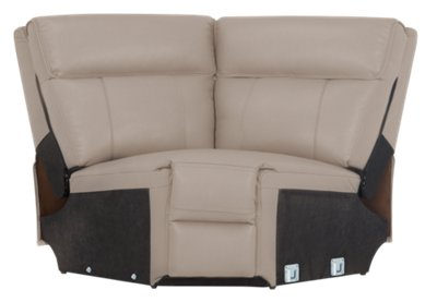 Rhett Taupe Microfiber Small Two Arm Power Reclining Sectional. VIEW LARGER
