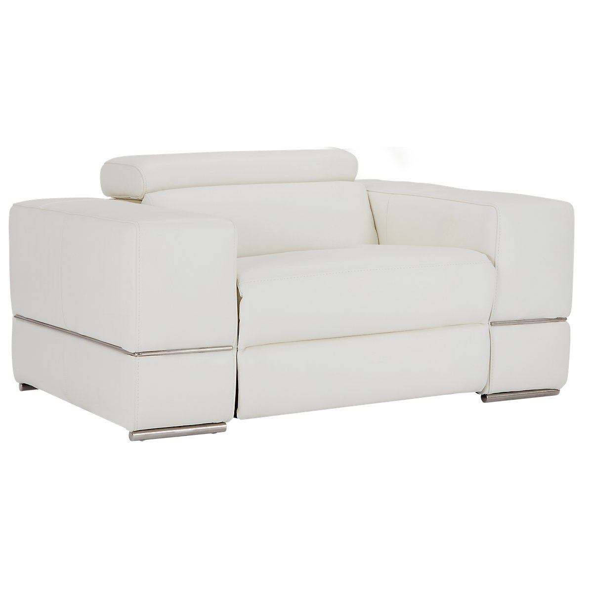 Dante White Leather Power Recliner