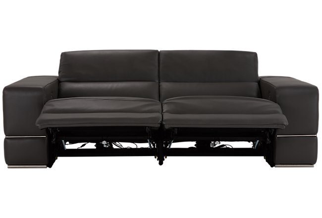 Dante Gray Leather Power Reclining Sofa Living Room