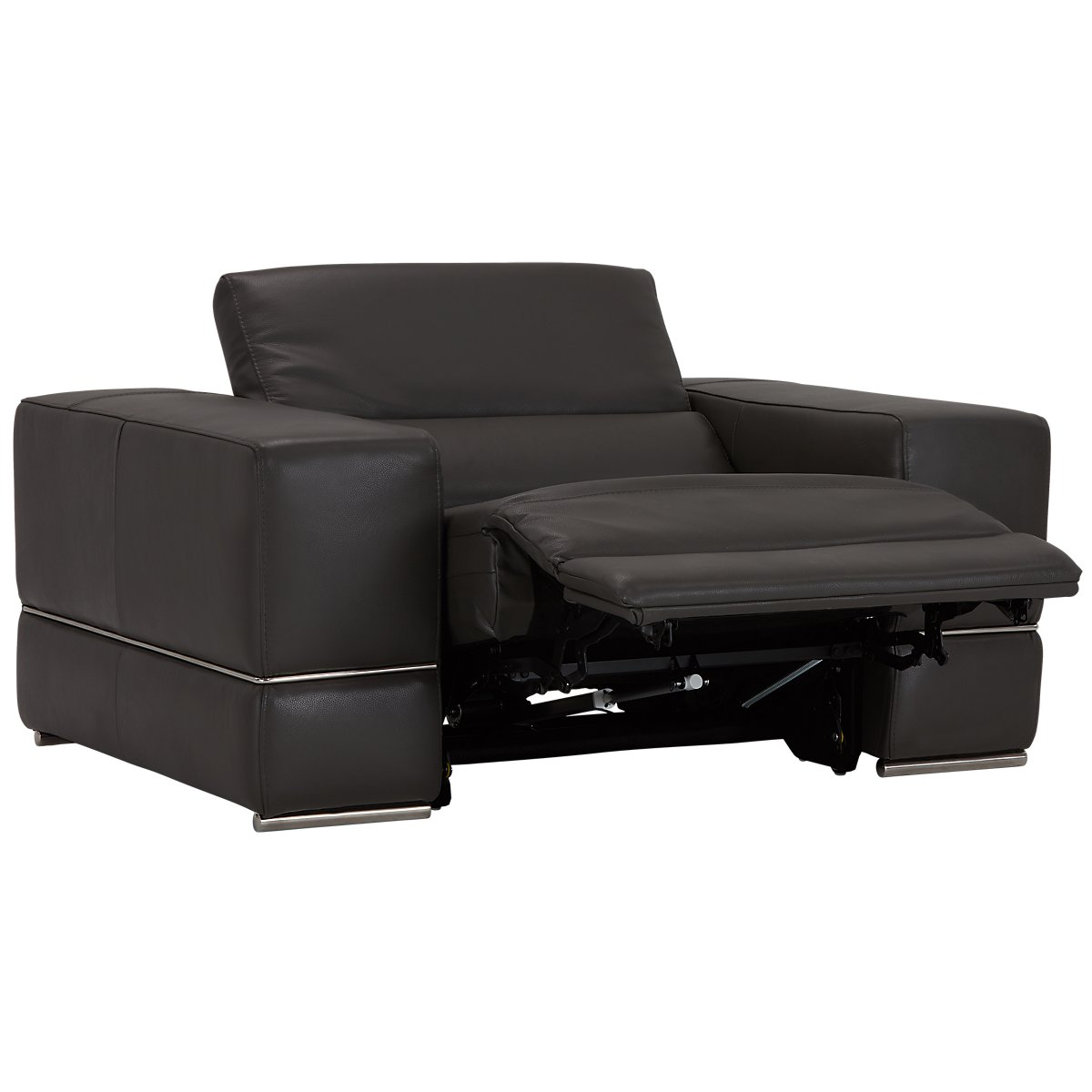City Furniture Dante Gray Leather Power Reclining Living Room