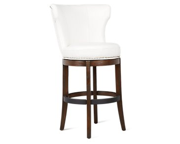 "Cayden White Bonded Leather 30"" Swivel Barstool"