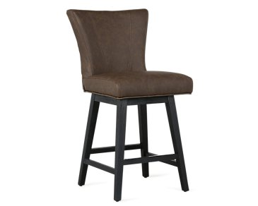 "Lori Dark Brown Microfiber 24"" Swivel Barstool"
