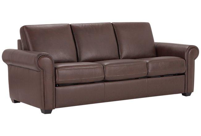 Lincoln Medium Brown Leather & Vinyl Sleeper