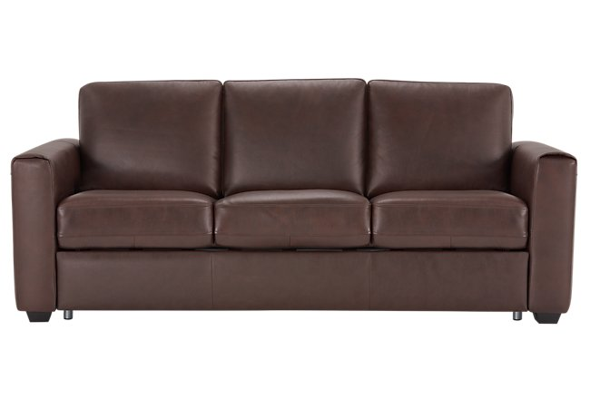 Lane Medium Brown Leather & Vinyl Sleeper