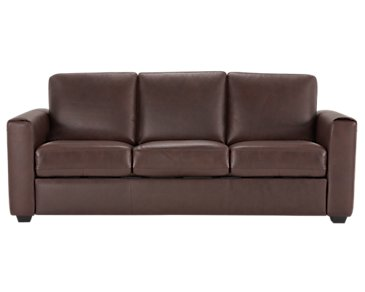 Lane Medium Brown Leather & Vinyl Sofa