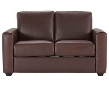 Lane Medium Brown Leather & Vinyl Loveseat