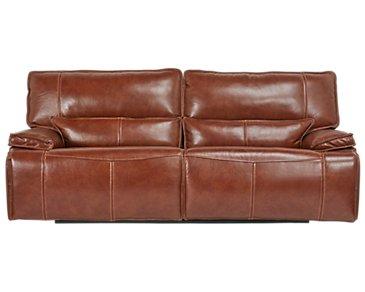 Jesse Medium Brown Leather Power Reclining Sofa