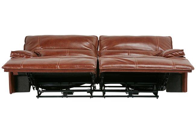 Jesse Medium Brown Leather & Vinyl Power Reclining Sofa | Living ...